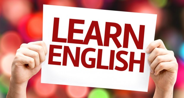 Learn English card with colorful background